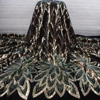 Tela de lentejuelas doradas 5 yardas tela de encaje africano hermosa tela de encaje de terciopelo Nigeriano para materiales nupciales fiesta boda A1766