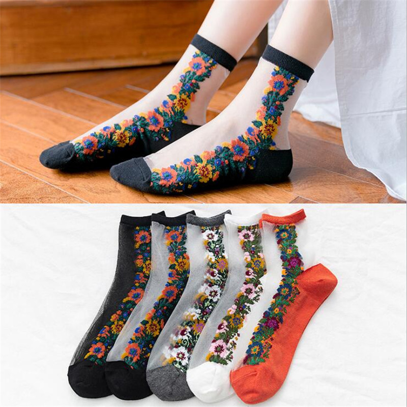 Spring Summer Vintage Flower Lace Socks Women Ultra Thin Transparent Glass Silk Short Socks Sheer Female Girl Retro Funny Meias