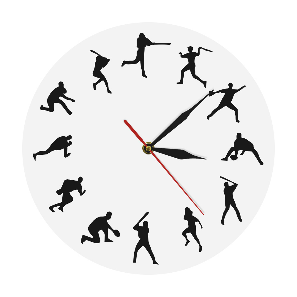 Modern Baseball Player Silhouette Unique Wall Clock Gift For Sport Lovers Athlete Home Decor Home Run Design Iconic Clock Watch