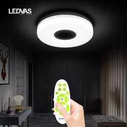 LED smart ceiling light with speaker, cold and warm brightness 3000K-6500K, suitable for 5-10 square bedroom study bathroom