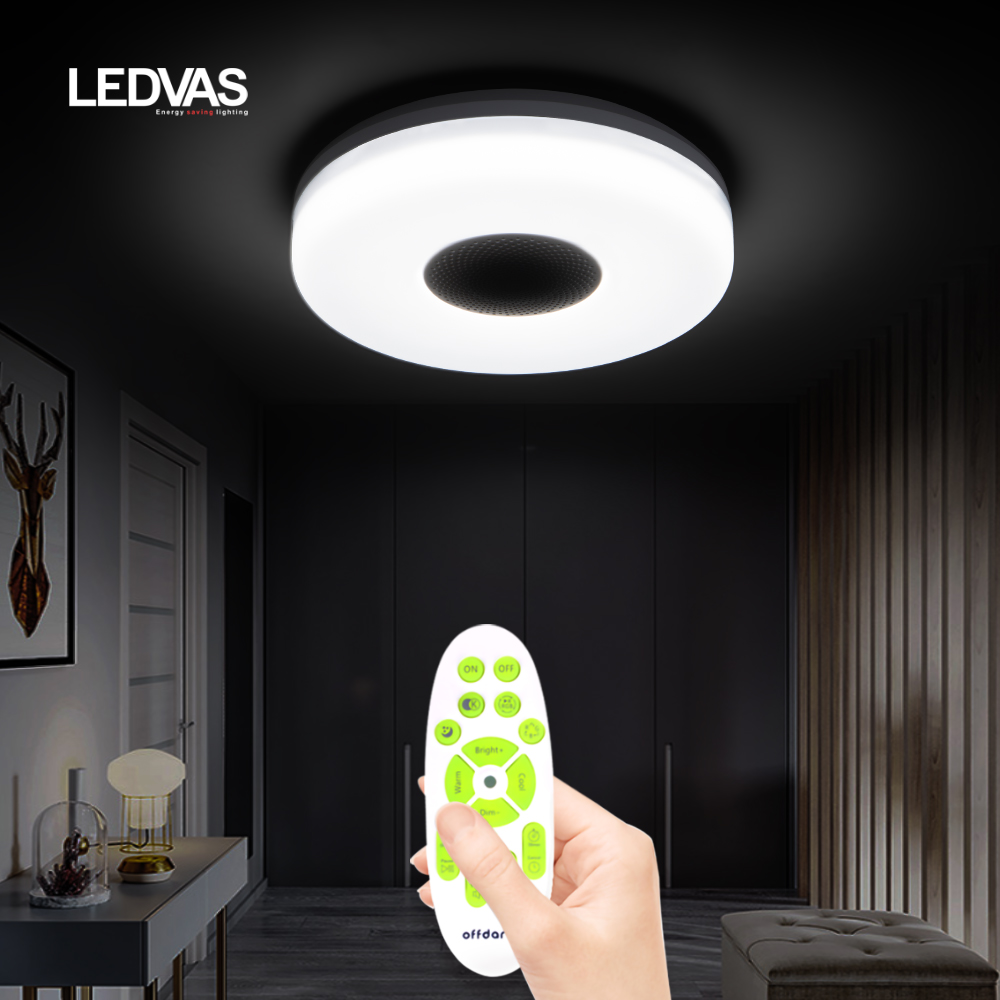 Inteligentne oświetlenie sufitowe LED z głośnikiem, zimna i ciepła jasność 3000K-6500K, nadaje się do 5-10 kwadratowych sypialni study bathroom