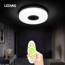 LED smart ceiling light with speaker, cold and warm brightness 3000K-6500K, suitable for 5-10 square bedroom study bathroom