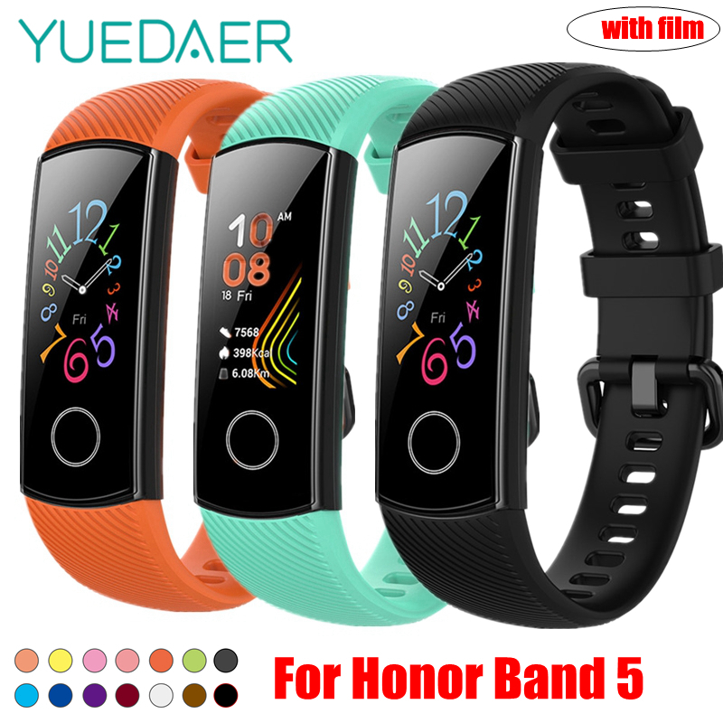 YUEDAER Strap For Honor Band 5 Wrist Strap For Huawei Honor Band 5 Silicon Bracelet Soft TPU Wristband Band5 Accessories Orange
