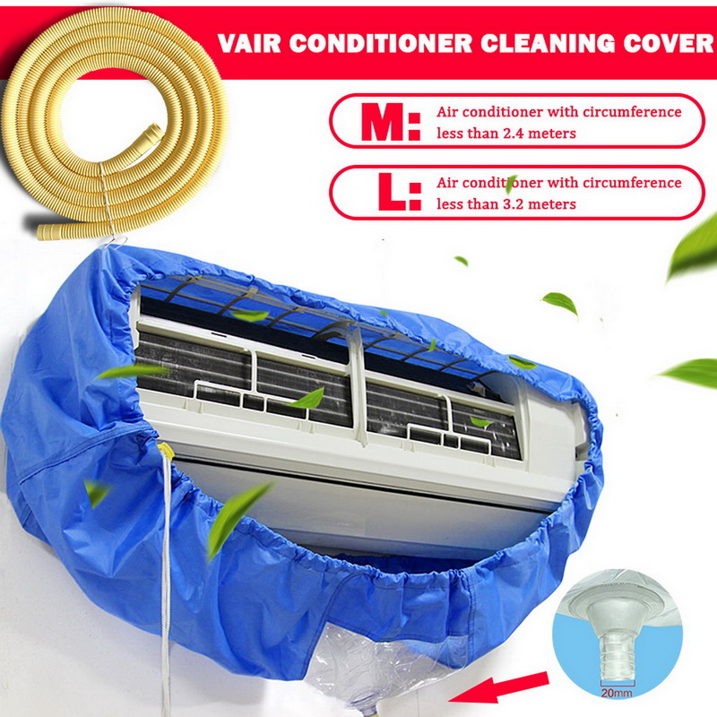 Air Conditioner Cover Washing Wall Mounted Air Conditioning Cleaning Protective Dust Cover Cleaner Bags Tightening belt