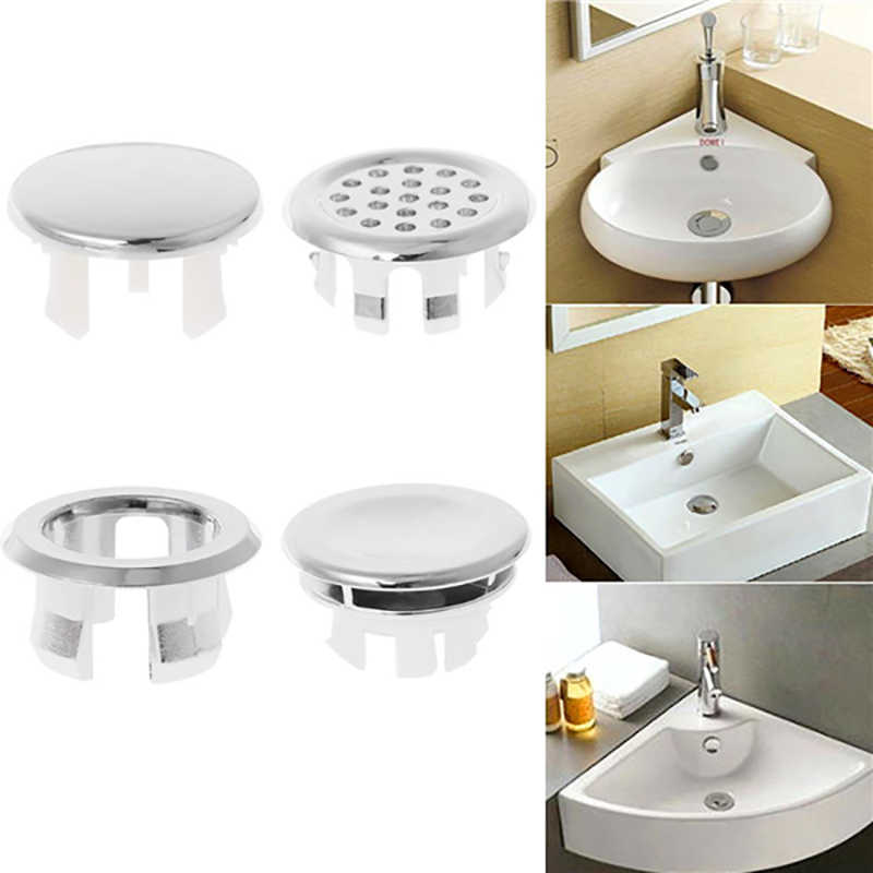 Sink Round Ring Plastic Spilled Water Ring Overflow Ring Bathroom Supplies Overflow Spare Covers Basin Sinks Stainless Steel