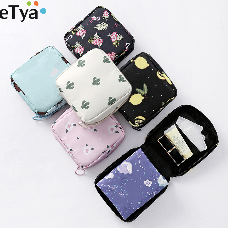 ETya Fashion Women Small Cosmetic Bags Travel Mini Sanitary Napkins Make Up Coin Money Card Lipstick Storage Pouch Bags Case