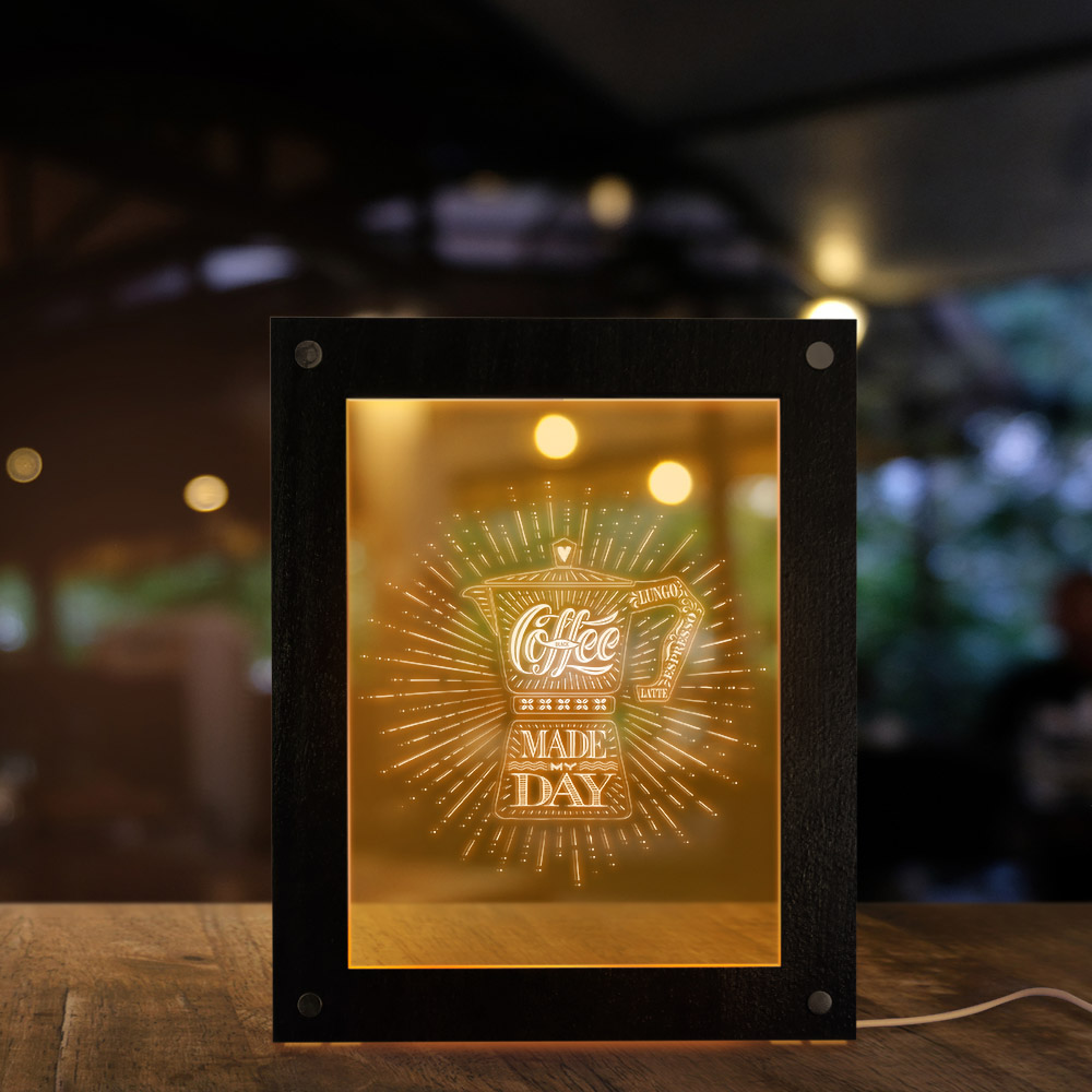 Coffee Made My Day LED Night Light Frame Coffee Shop Coffee Bar Table Decor Novelty Cafe Design Gift For Coffee Lover USB Lamp