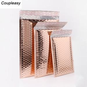Image 2 - 50 יח\חבילה אור זהב ציפוי נייר בועת מעטפות שקיות הדיוורים מרופד מעטפת משלוח עמיד למים בועת דיוור תיק