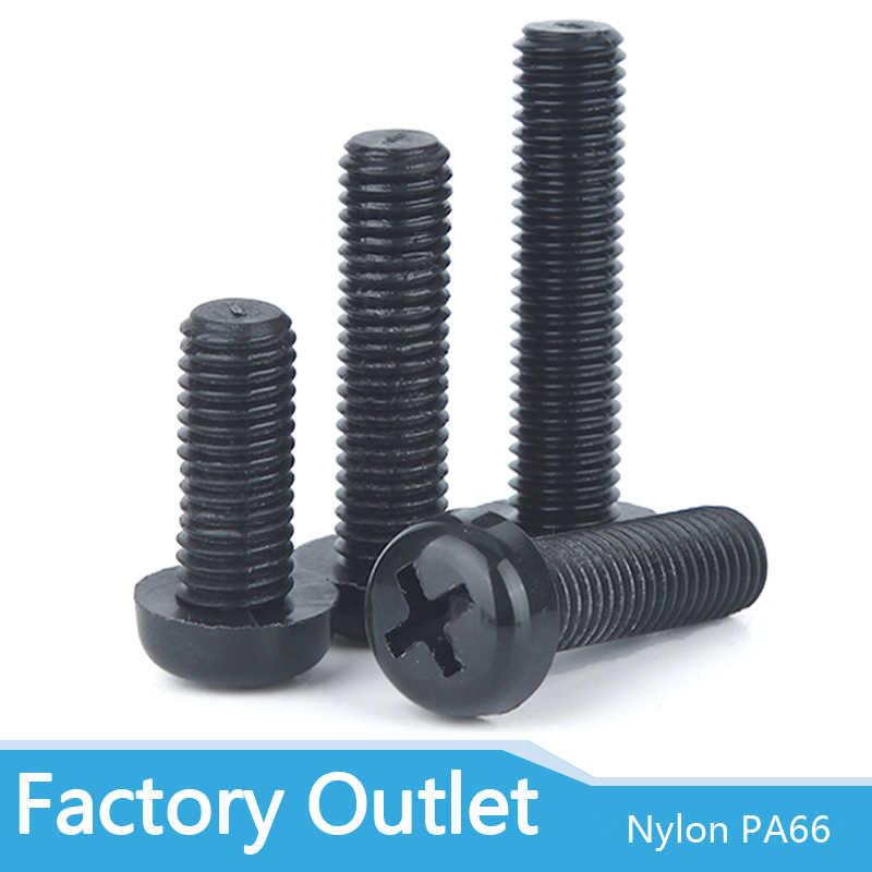 .* sale 50pcs Black Plastic Nylon M3 Round Pan Phillips Head Screw Bolt、Fad