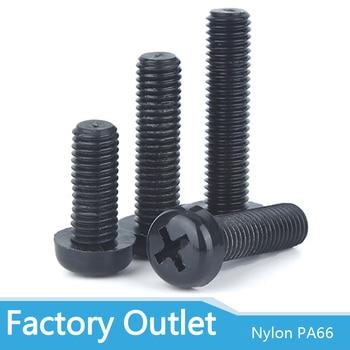 50pcs M2 M3 M4 Metric Threaded Black White Nylon Plastic Phillips Pan Head Cross Round Screw Bolt length 5mm-25mm