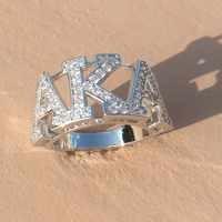 Hohe Qualität Silber Zirkon GRIECHISCHEN AKA SORORITY Finger Ring