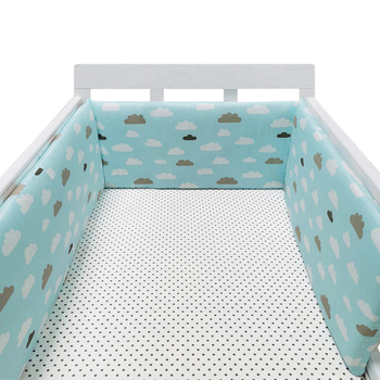 baby nursery Nordic Stars Design Baby Bed Thicken Bumper One-piece Crib Around Cushion Cot Protector Pillows Newborns Room Decor 23