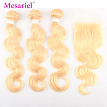 Mesariel 613 Blonde Bundles With Closure Brazilian Body Wave 3/4 Bundles With Closure Human Hair Bundles With Closure Remy(China)