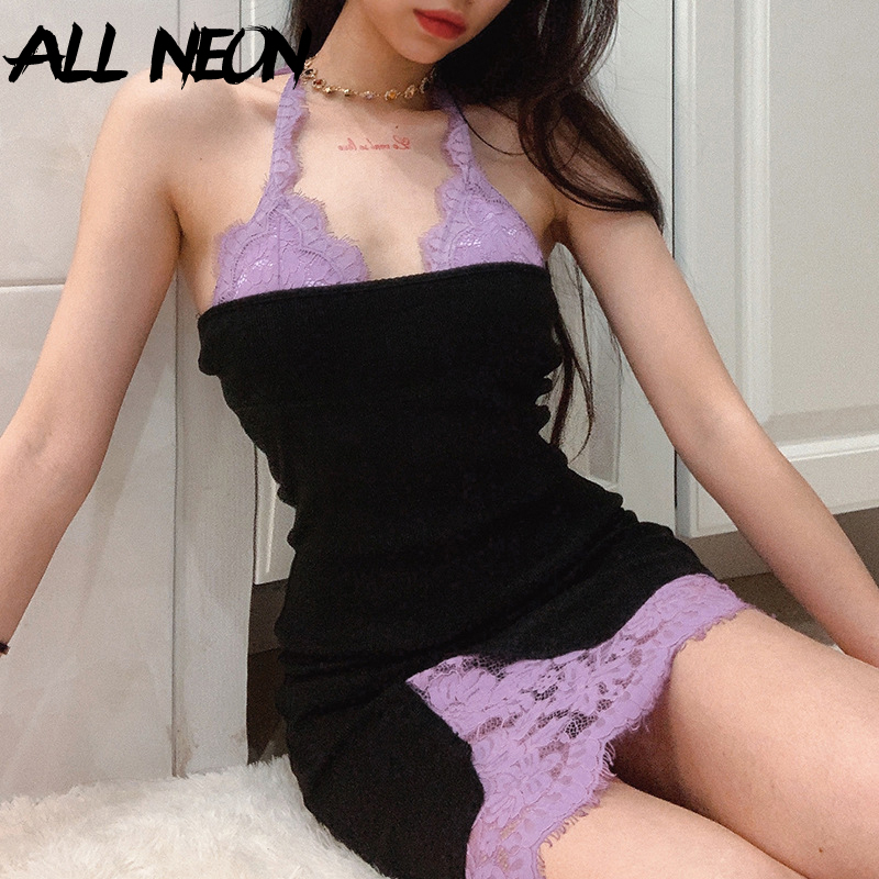 ALLNeon E-girl Fashion Halter Lace Mini Dresses Sweet Bandage Backless A-line Black Party Dress Chic Y2K Makeup Summer Outfit