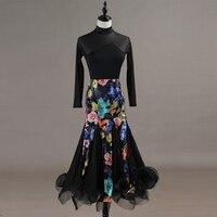 Modern Dance Long Black Dress Women Ballroom Dance Long Sleeve Mesh Dress Standard Ballroom Dancing Skirt Waltz Wear DQL1955