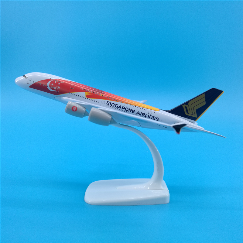 20cm Airbus A380 Air Singapore Airlines 50th Anniversary Metal Diecast Plane Model Aircraft Airplane Collectible Decoration image