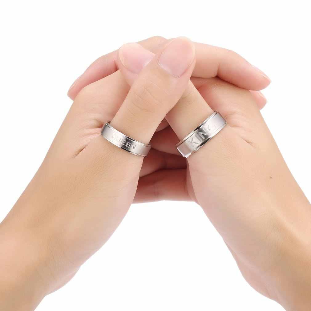 แฟชั่น 1pcs สแตนเลสสตีล King หรือ Queen แหวนคนรักแหวนคู่เครื่องประดับ AccessoriesClearance