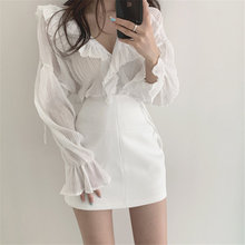 Alien Kitty All Match Chic Chiffon Pleated Solid 2020 OL Loose Ruffles Casual Sweet Full Sleeves Str