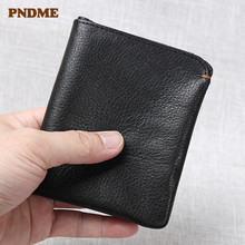 цена на PNDME fashion simple genuine leather men's women's small wallet vintage natural real cowhide black ID credit card holder purse