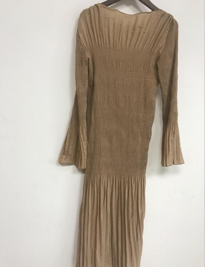 2019 Новое Женское платье миди осенне зимнее плиссированное платье с коротким рукавом, женские длинные платья, повседневная одежда - 3