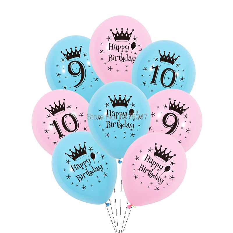12pcs/lot 9th 10th Year Birthday Balloon Kids Boy Girl Pink Blue Birthday Party Decorations Number 9 10 Happy Birthday Balloons