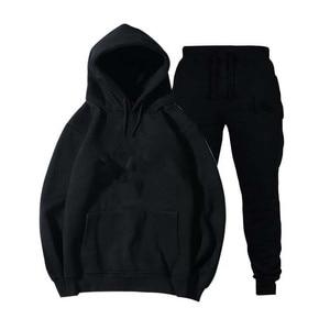 Image 1 - Mens and womens unisex 2 piece hooded trousers sportswear pullover sweatshirt trousers 2 piece sportswear suit