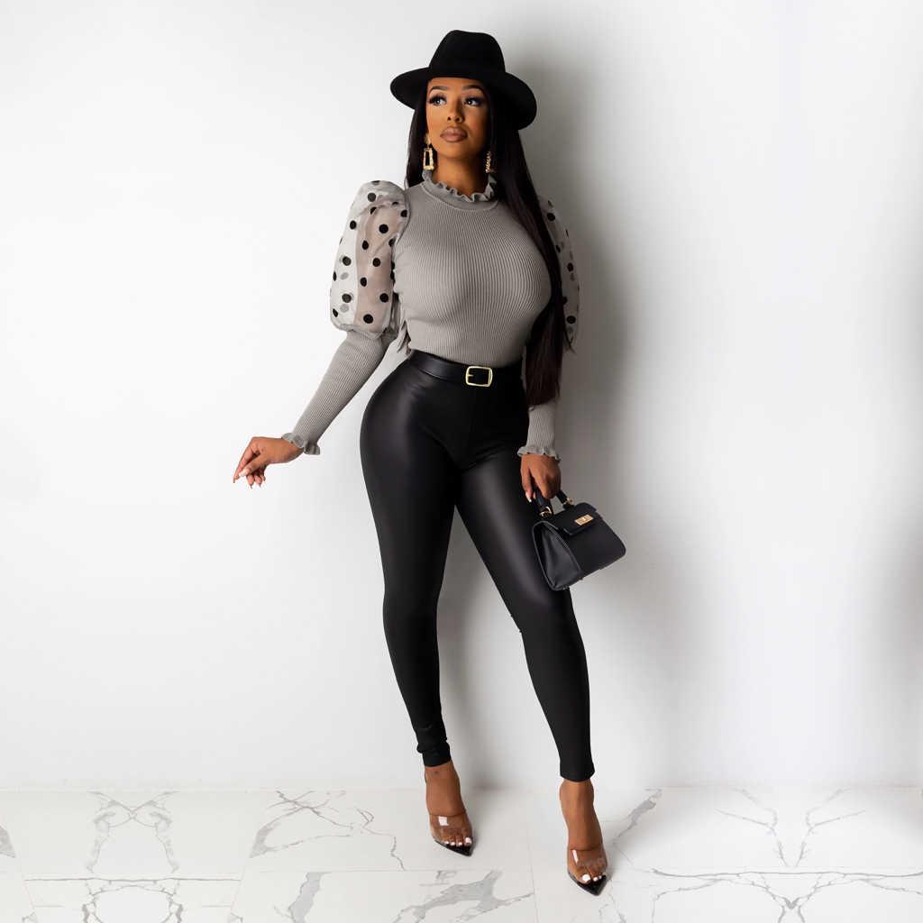 ผู้หญิงตาข่ายพัฟแขนยาวเสื้อเซ็กซี่เซ็กซี่ Bodycon กระชับ Club PARTY สุภาพสตรี Tunic VINTAGE สีดำสีแดงเสื้อ PLUS ขนาดหญิงเสื้อ