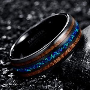Image 2 - 8mm יוקרה שחור טונגסטן קרביד טבעת כחול אופל שיבוץ עץ גברים נשים חתונת אירוסין טבעת Bague Homme