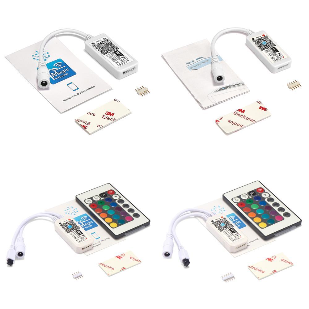 LED WIFI RGB RGBW בקר DC 5V 12V 24V מוסיקה בקר על ידי אמזון Alexa Google בית WiFi LED בקר עבור 5050 LED רצועת