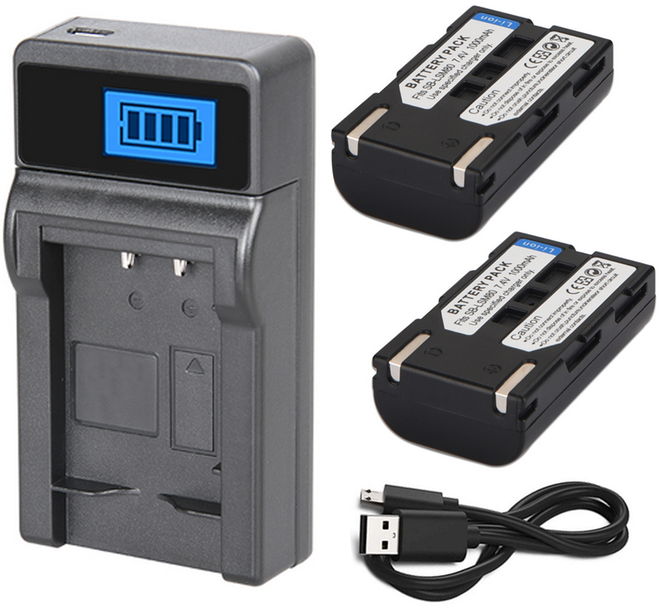 Battery 2-Pack SC-D364 SC-D365 and LCD USB Charger for Samsung SC-D362 SC-D363 SC-D366 Digital Camcorder