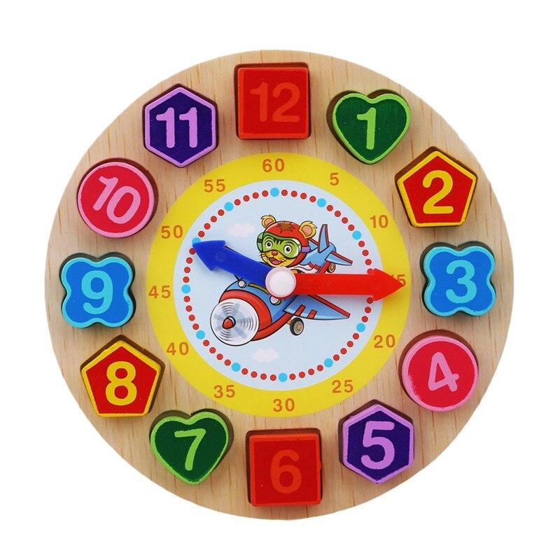 Montessori Cartoon Animal Educational Wooden Beaded Geometry Digital Clock Puzzles Gadgets Matching Clock Toy For Children 7