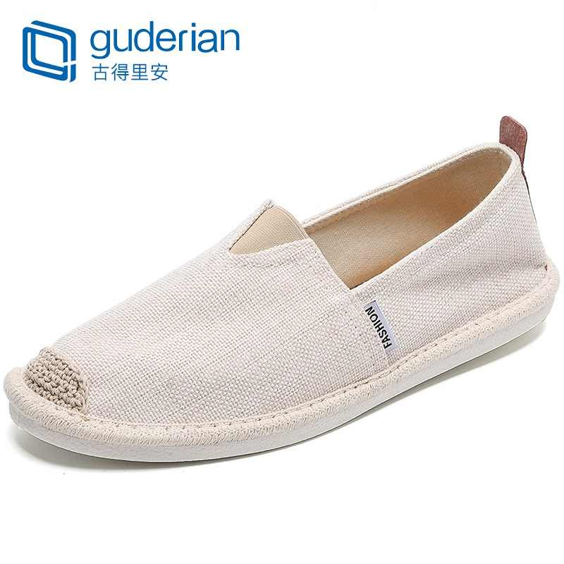 GUDERIAN New Men Fisherman Shoes Breathable Canvas Shoes Men Slip-On Casual Flat Shoes Men Sneakers Espadrilles Calzado Hombre