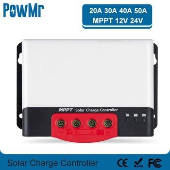 SRNE-controlador de carga Solar MPPT, regulador Solar de 20A, 30A, 40A, 50A, 12V, 24V para batería de litio de entrada máxima de 1320W con BT-2 LCD 1