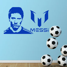 цена на Football players Art Design Wall Sticker Lionel Messi Poster Home Decor DIY Vinyl Football Wall Decal Room Decoration Mural Y138