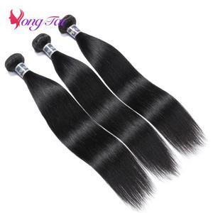 Image 2 - YuYongtai hint düz demetleri 4x4 dantel kapatma ile İnsan saç kapatma ile 3 demetleri olmayan Remy saç ekleme orta oranı