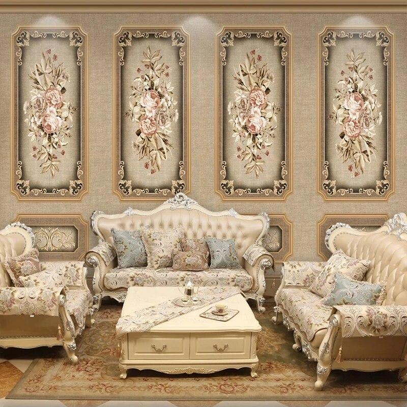 Настенные обои на заказ, Самоклеящиеся 3D обои в европейском ретро стиле, с изображением цветов, для гостиной, телевизора, дивана, спальни, до...