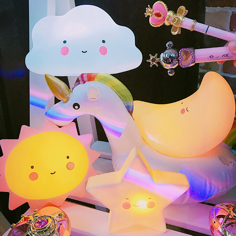 Cute Decorative Lamp Battery Soft Girl Bed Creative Energy Saving Lamp Night Light Romantic Lighting Bedroom Stars Moon Lights