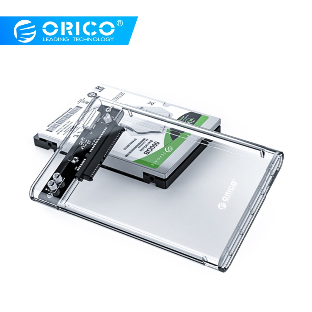 ORICO Usb-3.0 Adapter Ssd Disk External-Hard-Drive-Enclosure Case 2.5 SATA Transparent title=