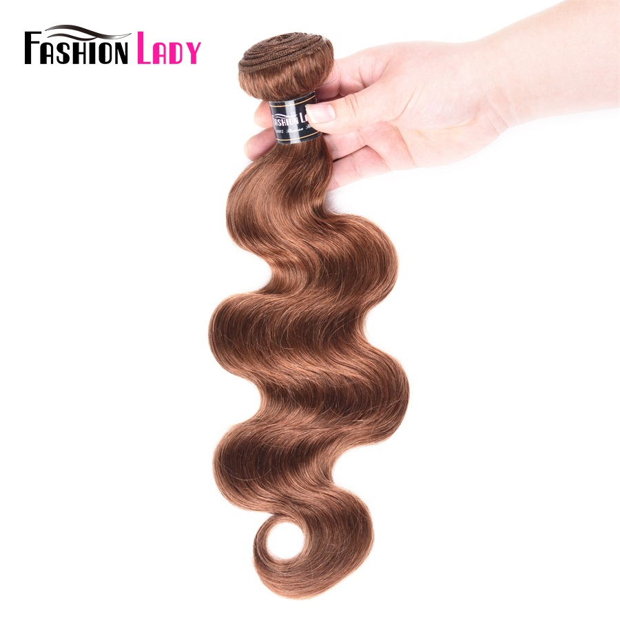 Fashion Lady Pre-colored Brazilian Hair Weaving #30 Brown Human Hair Bundles Body Wave 1/4 Pieces Hair Extensions Non-remy