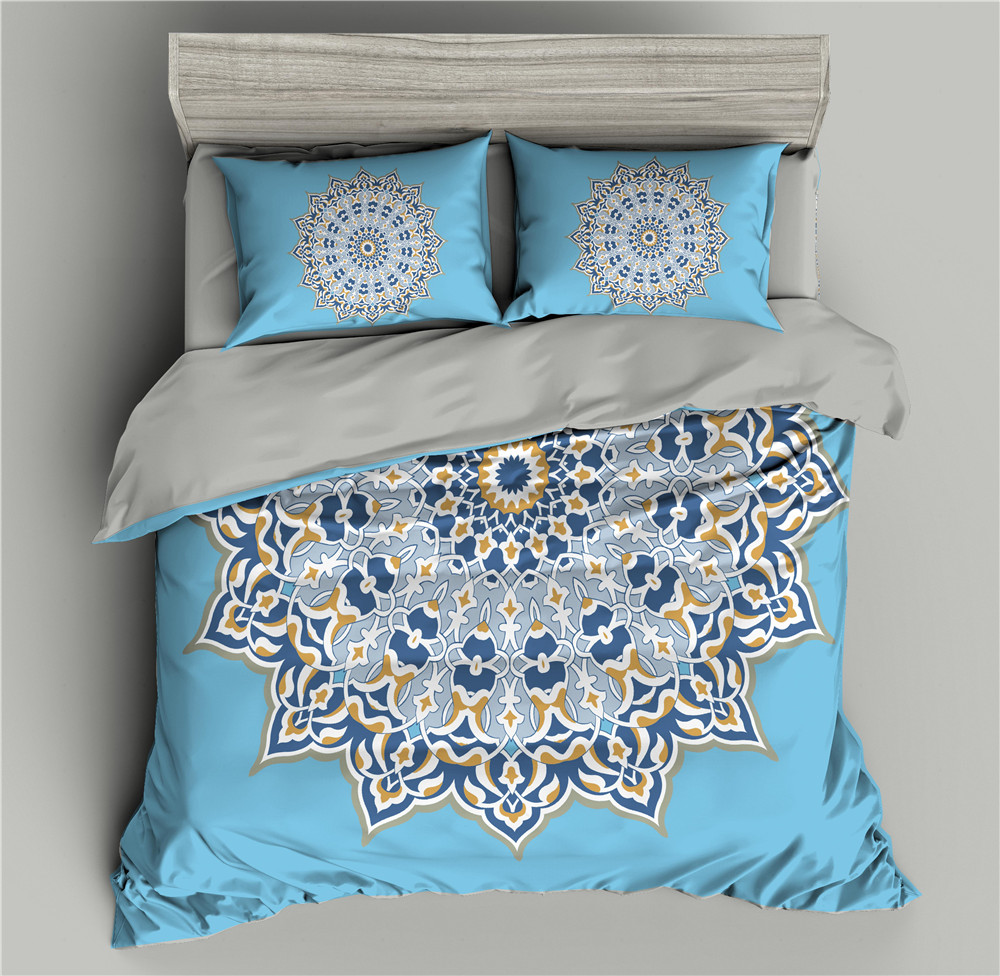 Blue Mandala Pattern 3D Bedding Set Flowers Duvet Cover Comforter Sets Quilt Covers Sets Single/Twin/Full/Queen/King/Double Size
