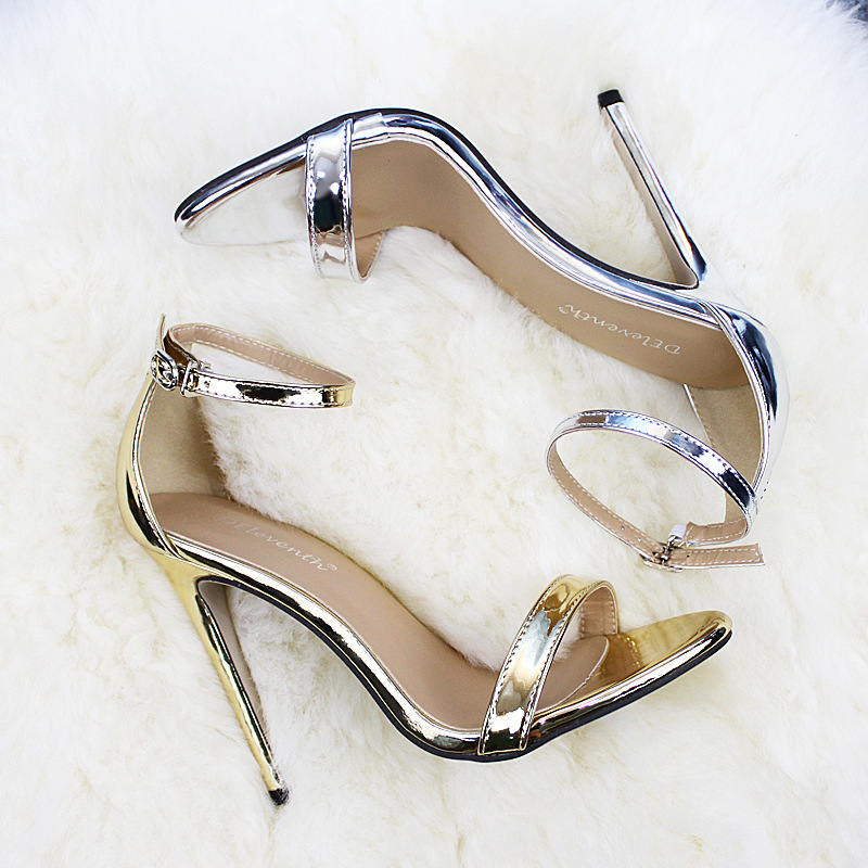 LTARTA Shoes women s Shoes Sandals With Buckle High Heels Gold And Silver Wedding Shoes Large LTARTA Shoes women's Shoes Sandals With Buckle High Heels Gold And Silver Wedding Shoes Large Size 43 ZL-300-7