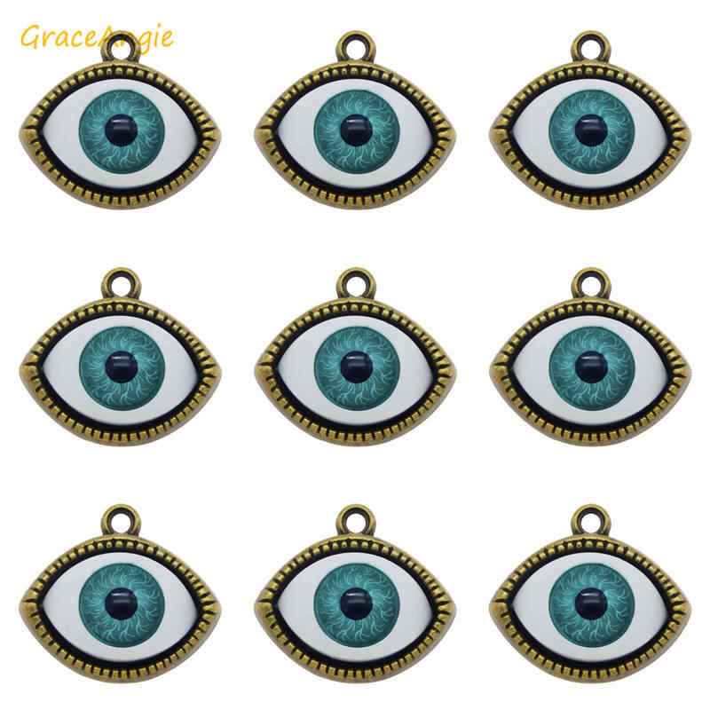 7pcs Retro Evil Eye จี้ Antique Bronze Flatback ปีศาจตา Charms สำหรับสร้อยข้อมือสร้อยคอต่างหูเครื่องประดับเครื่องประดับ DIY