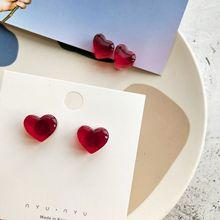 New Red Peach Earrings Winter Cute Mini Earrings for Women Korea Transparent Wine Red Peach Heart Love Stud Earrings Wholesale
