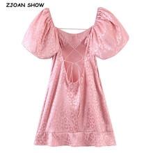 Retro Women Jacquard Leopard Pink Satin Mini Dress Sexy Elastic Short Lantern sleeve Cross Lacing up Back Backless Party Dresses