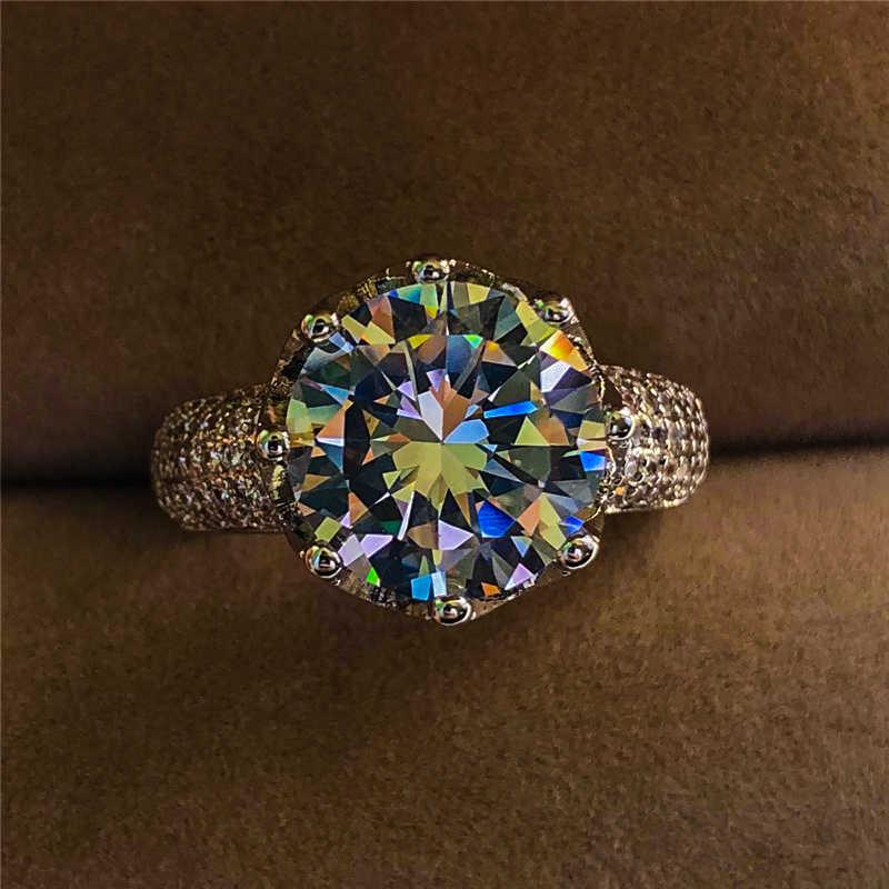 หญิงหรูหรา Big Zircon แหวนเงิน 925 แหวนมงกุฎ Vintage งานแต่งงานสัญญารักหมั้นแหวน