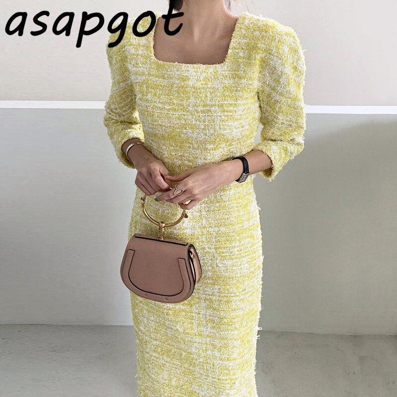 Женское твидовое платье с квадратным вырезом и рукавом три четверти, элегантное платье в стиле ретро|Платья|   | АлиЭкспресс