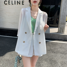 FMFSSOM Summer Spring Office Ladies 2 Pieces Loose Oversized White Vivid Young Short Buttons Women Female Blazers Suits