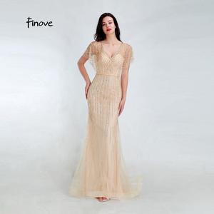 Image 1 - Finove 新マーメイドイブニングドレス 2020 セクシーな V ネック完全ビーズイリュージョン床の長さパーティードレスフォーマルロングドレス