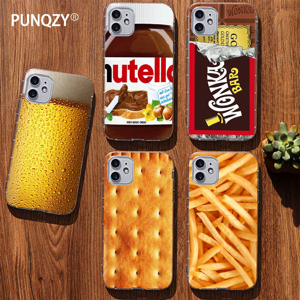 Funny food Dessert Chocolate beer phone case for iPhone 11 pro XR 6 6S 7 8 Plus 4s 5S SE XS MAX Cookies fries TPU Silicone Case