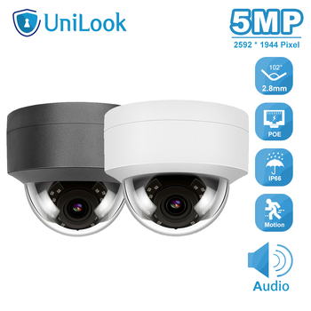 UniLook 5MP Dome POE IP Security Camera Outdoor Buid-in-Mic Home CCTV Camera IP66 IR 30m Hikvision Compatible ONVIF H.265 P2P hikvision ds 2cd3135f i chinese version h 265 3mp dome ip camera ir 30m support onvif poe security camera
